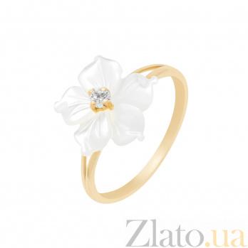Золотое кольцо Незабудка с белыми перламутром и фианитом 000096979