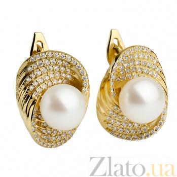 Золотые серьги с жемчугом и бриллиантами Афродита 000030262