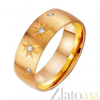 Золотое обручальное кольцо с фианитами Звезда любви TRF--412582