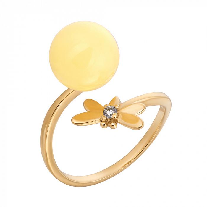 Позолоченное серебряное разомкнутое кольцо Милая стрекоза с лимонным янтарем и фианитом 000118966
