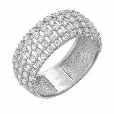 Кольцо из белого золота с фианитами Изольда