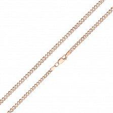 Золотой браслет Флер панцирного плетения с гранями и родированной насечкой на стыках звеньев, 4мм
