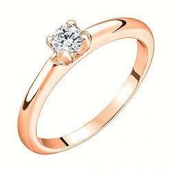 Кольцо из красного золота с бриллиантом, 0,2ct 000034614