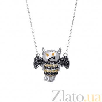 Серебряное колье Гламурный чертик с эмалью, черными и желтыми фианитами 000098212