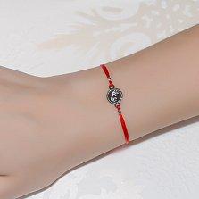 Шёлковый браслет Ладошки с серебряной вставкой