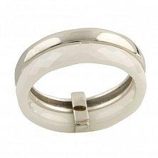 Серебряное кольцо Лукреция с белой керамикой
