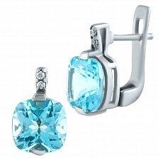 Серебряные серьги Ленардина с голубым топазом и фианитами
