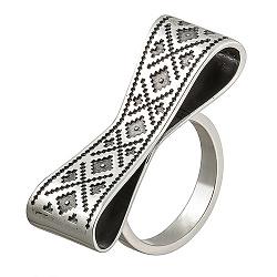 Серебряное кольцо Вышиванка
