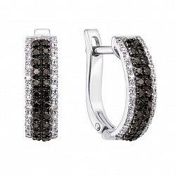 Золотые серьги в белом цвете с черными и белыми бриллиантами 000126561