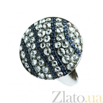 Золотое кольцо с сапфирами и бриллиантами Мелодия 000026895