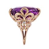 Коктейльное кольцо Страсть королевы с аметистом и бриллиантами