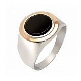 Серебряное кольцо Кларк с золотой вставкой и ониксом