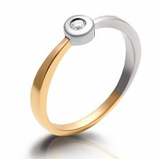 Кольцо из комбинированного золота с бриллиантом Персия