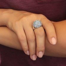 Серебряное кольцо Летний вечер с голубыми и розовыми фианитами