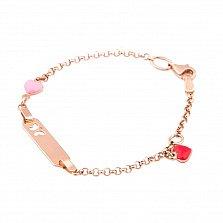 Золотой браслет Сердечки с эмалью