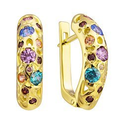 Серьги из желтого золота Карнавал с разноцветными кристаллами Swarovski 000050206