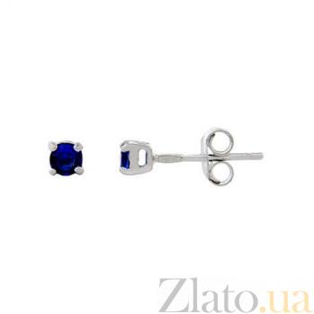 Серебряные серьги-гвоздики с синим цирконом AQA--2202070/3S