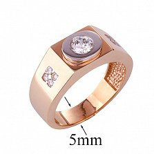 Золотое кольцо-печатка с фианитами Томсон