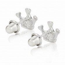 Детские серебряные серьги-пуссеты Корона с желтой эмалью, 8х10,5мм