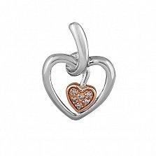 Кулон из комбинированного золота Биение сердца с бриллиантами
