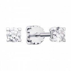 Серьги-пуссеты из белого золота с бриллиантами 000134997