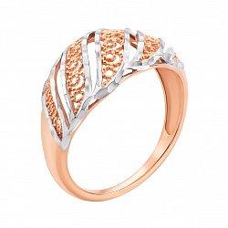 Золотое кольцо Арианна в комбинированном цвете с алмазной гранью