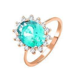 Золотое кольцо Роузи в красном цвете со светло-зеленым кварцем и фианитами