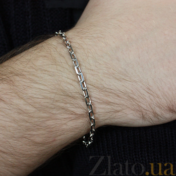 Серебряный родированный браслет Якорная цепь 000059135