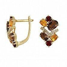 Золотые серьги с раухтопазами, цитринами, гранатами и бриллиантами Аделфа
