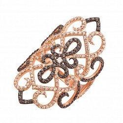 Золотое кольцо на всю фалангу Джорджиана в комбинированном цвете с черными и белыми фианитами
