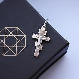 Серебряный крестик Спас с золотой накладкой