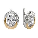 Серебряные серьги с золотыми вставками и цирконием Ягуар