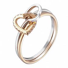 Кольцо в белом и желтом золоте Взаимное чувство с фианитами