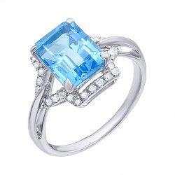 Кольцо из белого золота с голубым топазом и бриллиантами 000139333