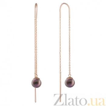 Золотые серьги-протяжки с чёрным жемчугом Андалусия 000015142