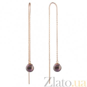 Золотые серьги-протяжки с чёрным жемчугом Андалусия TNG--580035ч