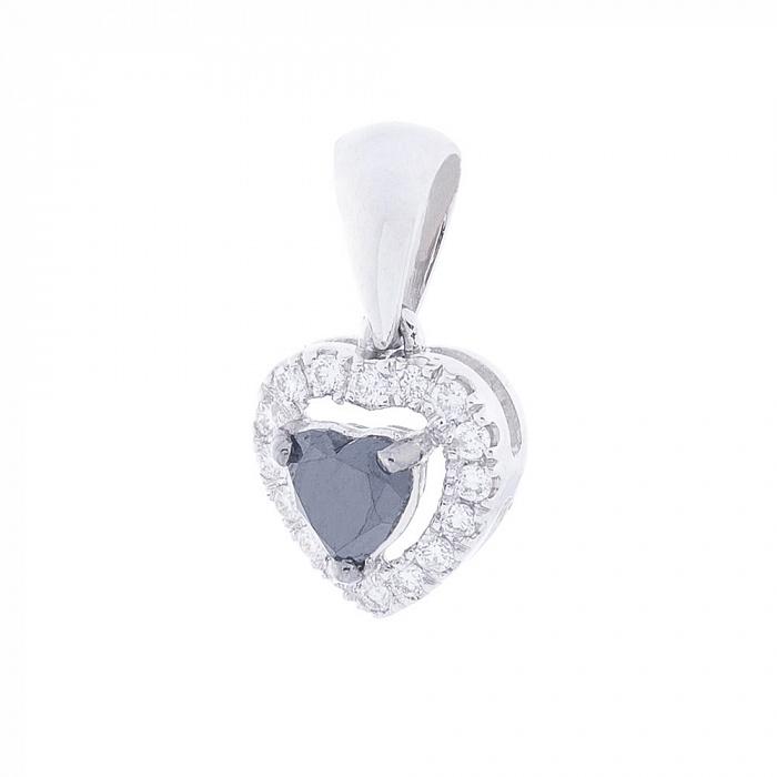 Золотой кулон Сердце в белом цвете с белыми и черными бриллиантами 000116524