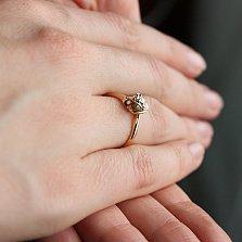 Золотое кольцо Дивный цветок в комбинированном цвете с бриллиантом