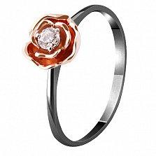 Золотое кольцо Весенняя роза с бриллиантом и черным родием