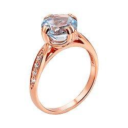 Кольцо из красного золота с голубым топазом и фианитами 000136982