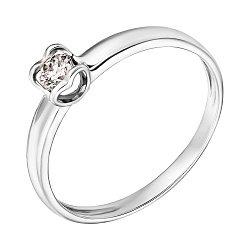 Кольцо из белого золота Серце с бриллиантом