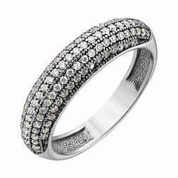 Серебряное кольцо Берта в усыпке фианитов