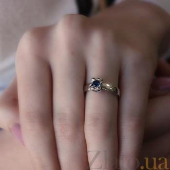 Золотое кольцо Ассоль в белом цвете с сапфиром 000045996
