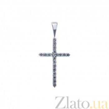Серебряный крест с фианитами Сверкающий крест AQA-К-30025