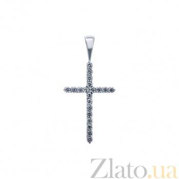 Серебряный крест с фианитами Сверкающий крест AQA--К-30025