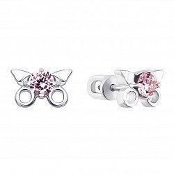 Серебряные серьги-пуссеты с розовыми фианитами 000136001