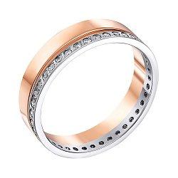 Золотое обручальное кольцо в комбинированном цвете с фианитами 000005248