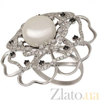Кольцо из белого золота с жемчугом и фианитами Актиния VLT--ТТ1195
