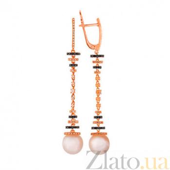 Серьги-подвески из красного золота с цирконием и белым жемчугом Аделина VLT--ТТ2278-2