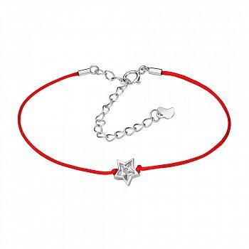 Браслет из серебра и красной шелковой нити Звезда с цирконием 000099329
